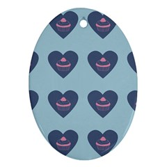 Cupcake Heart Teal Blue Oval Ornament (two Sides)