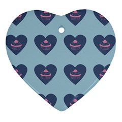 Cupcake Heart Teal Blue Heart Ornament (two Sides)