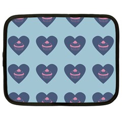 Cupcake Heart Teal Blue Netbook Case (large)