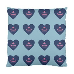 Cupcake Heart Teal Blue Standard Cushion Case (two Sides)