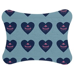 Cupcake Heart Teal Blue Jigsaw Puzzle Photo Stand (bow)