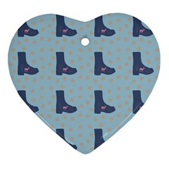 Deer Boots Teal Blue Ornament (heart)
