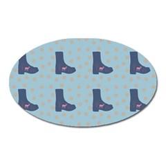Deer Boots Teal Blue Oval Magnet