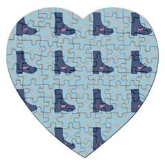 Deer Boots Teal Blue Jigsaw Puzzle (heart)