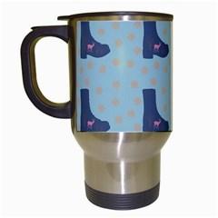 Deer Boots Teal Blue Travel Mugs (white)
