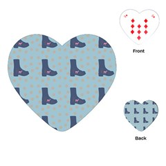 Deer Boots Teal Blue Playing Cards (heart)