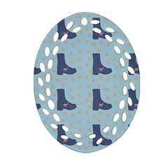 Deer Boots Teal Blue Oval Filigree Ornament (two Sides)