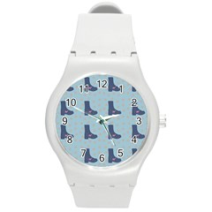 Deer Boots Teal Blue Round Plastic Sport Watch (m)