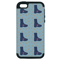 Deer Boots Teal Blue Apple Iphone 5 Hardshell Case (pc+silicone)