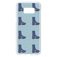Deer Boots Teal Blue Samsung Galaxy S8 Plus White Seamless Case