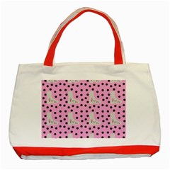 Deer Boots Pink Grey Classic Tote Bag (red)