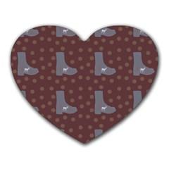 Deer Boots Brown Heart Mousepads