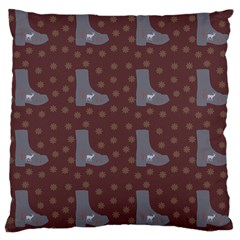 Deer Boots Brown Large Cushion Case (two Sides)