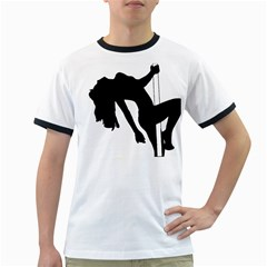 Pole Dancer Silhouette Ringer T Shirts