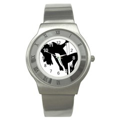 Pole Dancer Silhouette Stainless Steel Watch