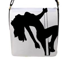 Pole Dancer Silhouette Flap Messenger Bag (l)