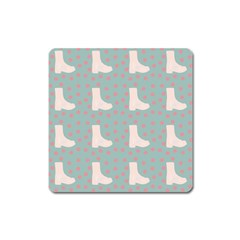 Deer Boots Blue White Square Magnet