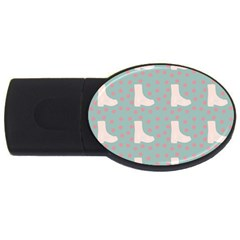 Deer Boots Blue White Usb Flash Drive Oval (4 Gb)