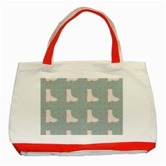 Deer Boots Blue White Classic Tote Bag (red)