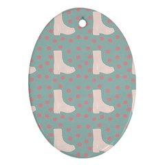 Deer Boots Blue White Oval Ornament (two Sides)
