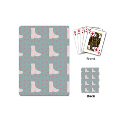 Deer Boots Blue White Playing Cards (mini)