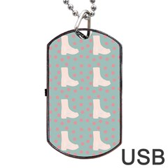 Deer Boots Blue White Dog Tag Usb Flash (one Side)