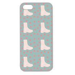 Deer Boots Blue White Apple Seamless Iphone 5 Case (clear)