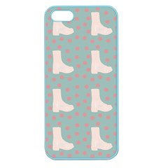 Deer Boots Blue White Apple Seamless Iphone 5 Case (color)
