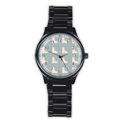 Deer Boots Blue White Stainless Steel Round Watch