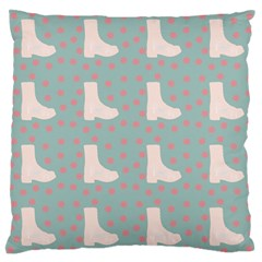 Deer Boots Blue White Large Flano Cushion Case (two Sides)
