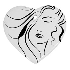 Womans Face Line Ornament (heart)