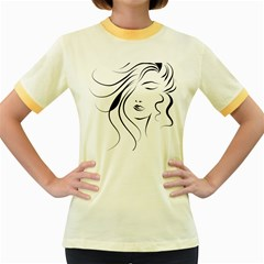 Womans Face Line Women s Fitted Ringer T Shirts