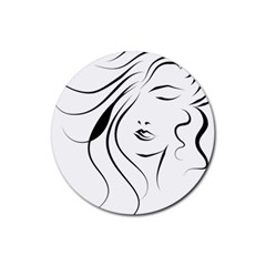 Womans Face Line Rubber Round Coaster (4 Pack)