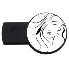 Womans Face Line Usb Flash Drive Round (4 Gb)