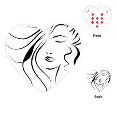 Womans Face Line Playing Cards (heart)