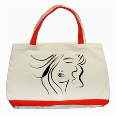 Womans Face Line Classic Tote Bag (red)