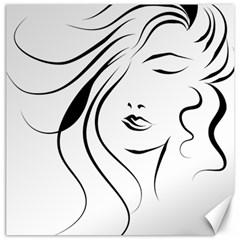 Womans Face Line Canvas 12  X 12