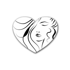 Womans Face Line Heart Coaster (4 Pack)