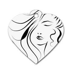 Womans Face Line Dog Tag Heart (two Sides)