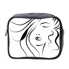 Womans Face Line Mini Toiletries Bag 2 Side