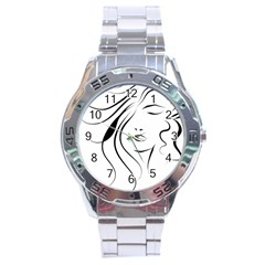 Womans Face Line Stainless Steel Analogue Watch