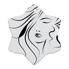 Womans Face Line Snowflake Ornament (two Sides)