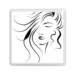 Womans Face Line Memory Card Reader (square)