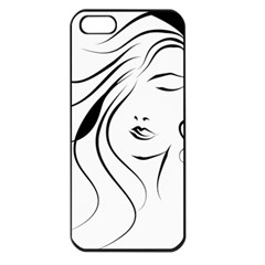 Womans Face Line Apple Iphone 5 Seamless Case (black)