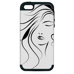 Womans Face Line Apple Iphone 5 Hardshell Case (pc+silicone)
