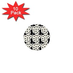 Deer Boots White Black 1  Mini Buttons (10 Pack)