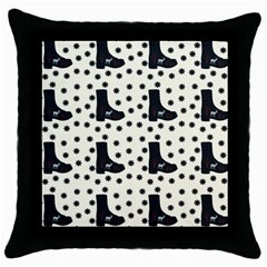Deer Boots White Black Throw Pillow Case (black)