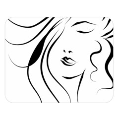 Womans Face Line Double Sided Flano Blanket (large)