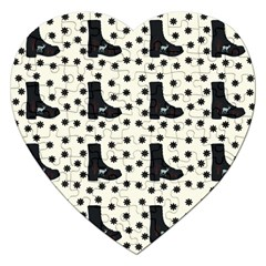 Deer Boots White Black Jigsaw Puzzle (heart)