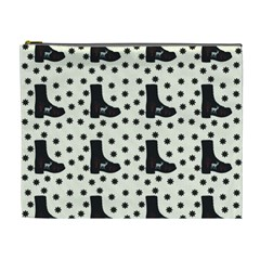 Deer Boots White Black Cosmetic Bag (xl)